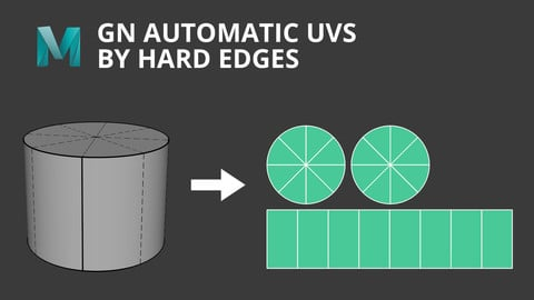 [Maya] GN Automatic UVs By Hard Edges