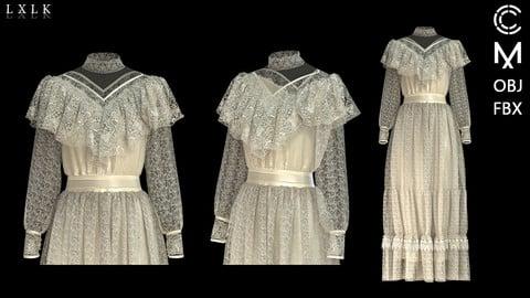 Women's Vintage Lace Dress - Marvelous designer, Clo3d