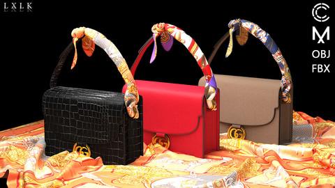 Shoulder Bag with Scarf (3Colorways) - Marvelous Designer, CLO3D