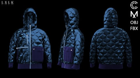Unisex Onion Quilted Puffer/Padded Jacket - Marvelous Designer, CLO3D