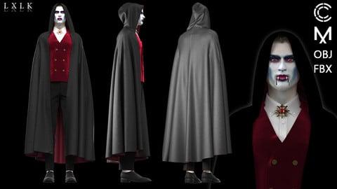 Men's Vampire Costume for Halloween - Marvelous Designer, CLO3D