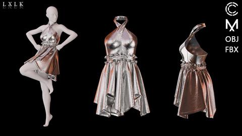 Silver Metal Dress - Marvelous designer, Clo3d