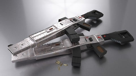 Low Poly Machine Gun for games