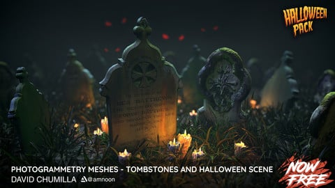 Photogrammetry Meshes - Tombstones and Halloween Scene - Now Free!