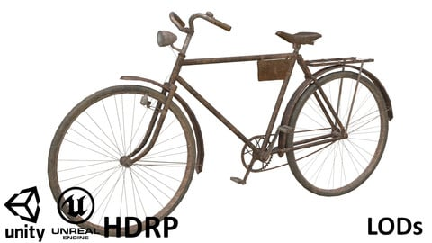 Game-ready Retro Bicycle Rusty - Customisable
