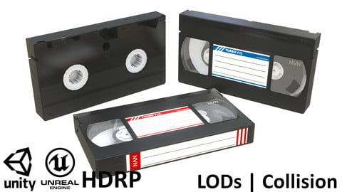 VHS Cassette - Blank, Red and Blue label