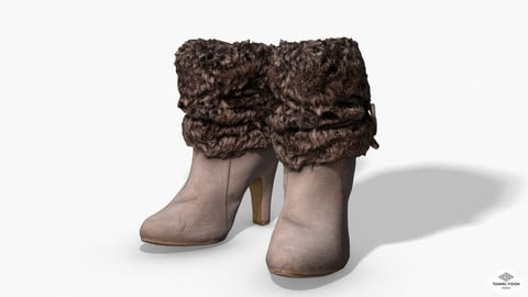 Fur Trim Heel Boots - Photoscanned PBR