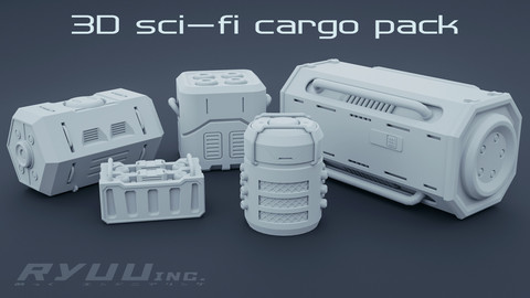 Cyberpunk Cargo Container Crate Pack - 5 Pieces Low-Poly 3d Model