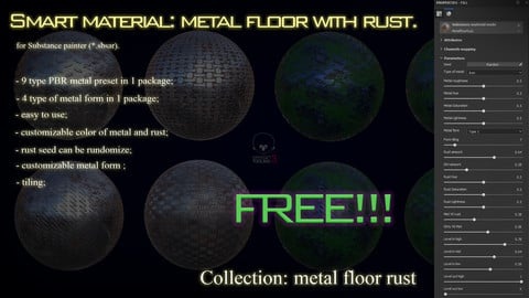 Smart material: metal floor with rust