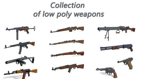 Collection of low poly weapons