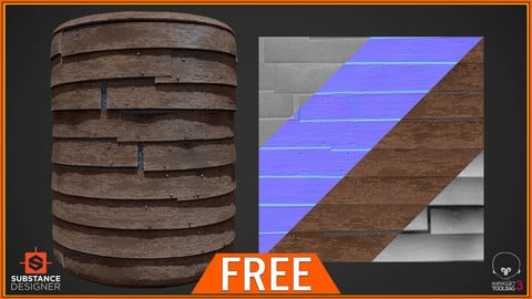 FREE - Stylized Wooden Wall PBR Texture