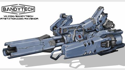Futuristic minigun concept art