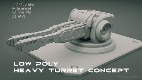 Low poly heavy scifi turret 3D concept