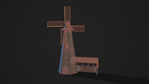 Low Poly Stylized Mill