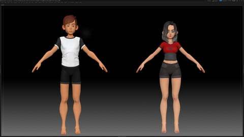 Zbrush Basemesh Couple Character - Amy Boy and Girl Style 1