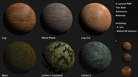 6+ Wood, Log, Moss, Lichen and Defect Materials Customizable Materials
