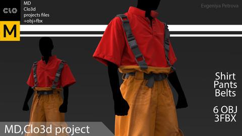 Marvelous Designer,Clo3d project. + obj+ fbx. Work outfit №D2
