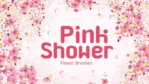 Pink shower flower brushes