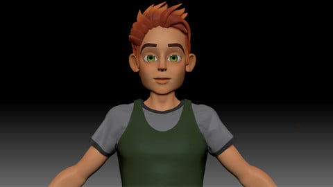 ZBrush Stylized Character Boy Base Mesh - Blue Boy Style 2