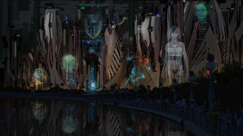 LAYERED PSD File of SCI-FI Cyberpunk Cityscape Concept Matte Painting
