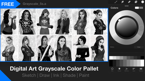 Grayscale Procreate Swatches