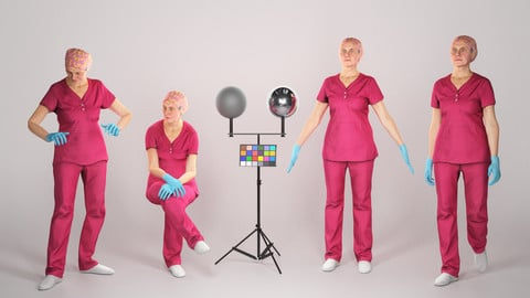 Animated surgical doctor female: walking, working, sitting 137