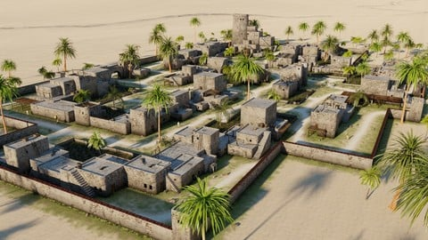 Desert village in Blender