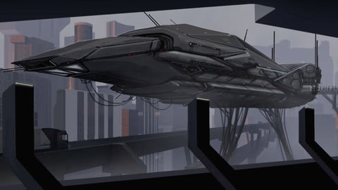 LAYERED PSD File of Futuristic Sci-fi Scenario Concept Matte Painting Using A 3d Environment Plate