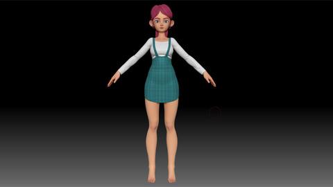 ZBrush Stylized Character Girl Base Mesh - Amy Girl Style 11
