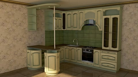 3d model kitchen FREE