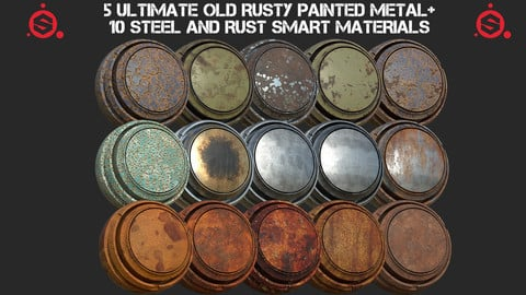 5 Ultimate old rusty painted metal + 10 Steel and Rust smart material