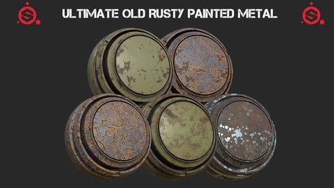Ultimate old rusty painted metal smart materials