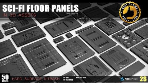 Sci-fi floor Panels KitBash 50 assets