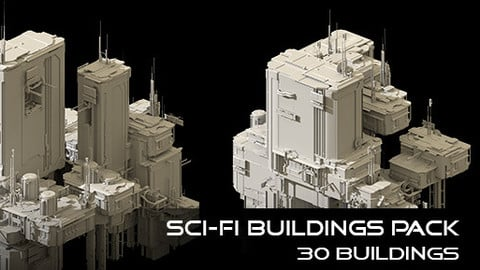 Sci-Fi Buildings Pack - 30 Buildings