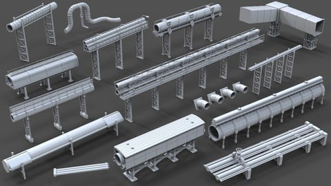 Industrial Pipes - 15 pieces