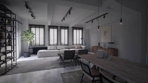 | UE4| DAY | Realism Vintage Style Living Room DAY Scene in UE4