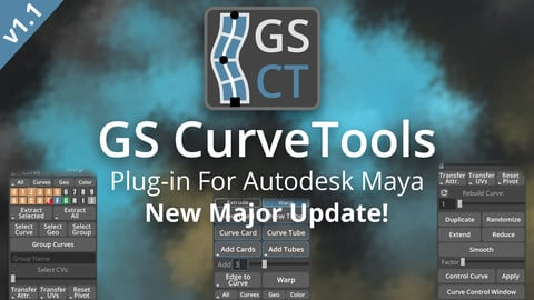 GS CurveTools v1.1 - Maya Plug-in. Curve Controlled Hair Cards, Pipes and more.