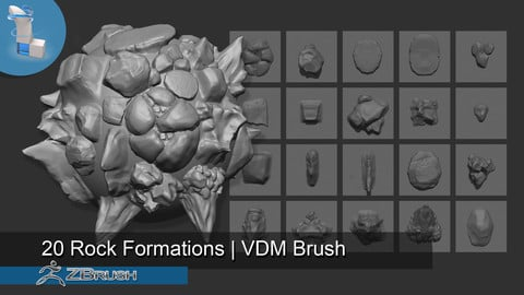 20 Rock Formations VDM Brush - Zbrush