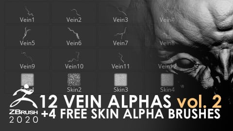12 Vein Alphas + 4 Free Skin Alpha Brushes vol. 2