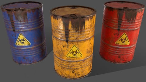 PBR Oil Drum Barrel A6 - Biohazard Toxic waste