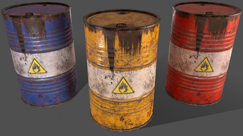 PBR Oil Drum Barrel A7 - Flammable Explosive Chemical