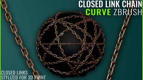Chain Closed Link Curve - Zbrush 2020 - Stylized for 3D Print