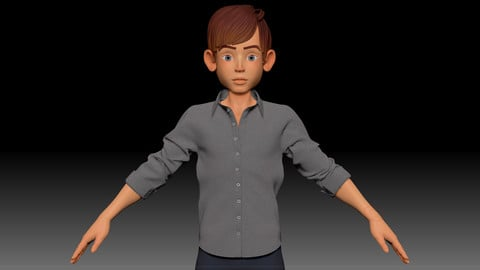ZBrush Stylized Character Boy Base Mesh with Clothes - Amy Boy Style 3