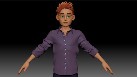 ZBrush Stylized Character Boy Base Mesh with Clothes - Blue Boy Style 4