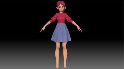 ZBrush Stylized Character Girl Base Mesh - Amy Girl Style 27