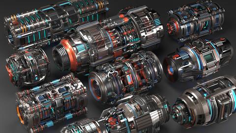Sci Fi Mega Elements KITBASH - SUBDIVISION READY - Full 3D pack