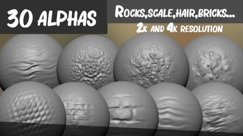 30 Alphas various - (Rocks,Scale,Hair,Bricks...)