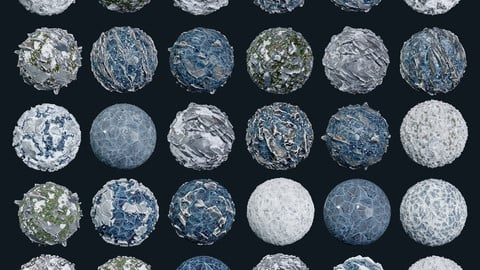 30 Snow Ice Ground Seamless PBR Texture Pack