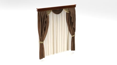 №601 Curtain 3D high poly model for architectural visualization