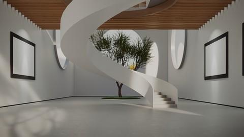 VR Art Gallery Circles 2020 4k Corona Max Scene